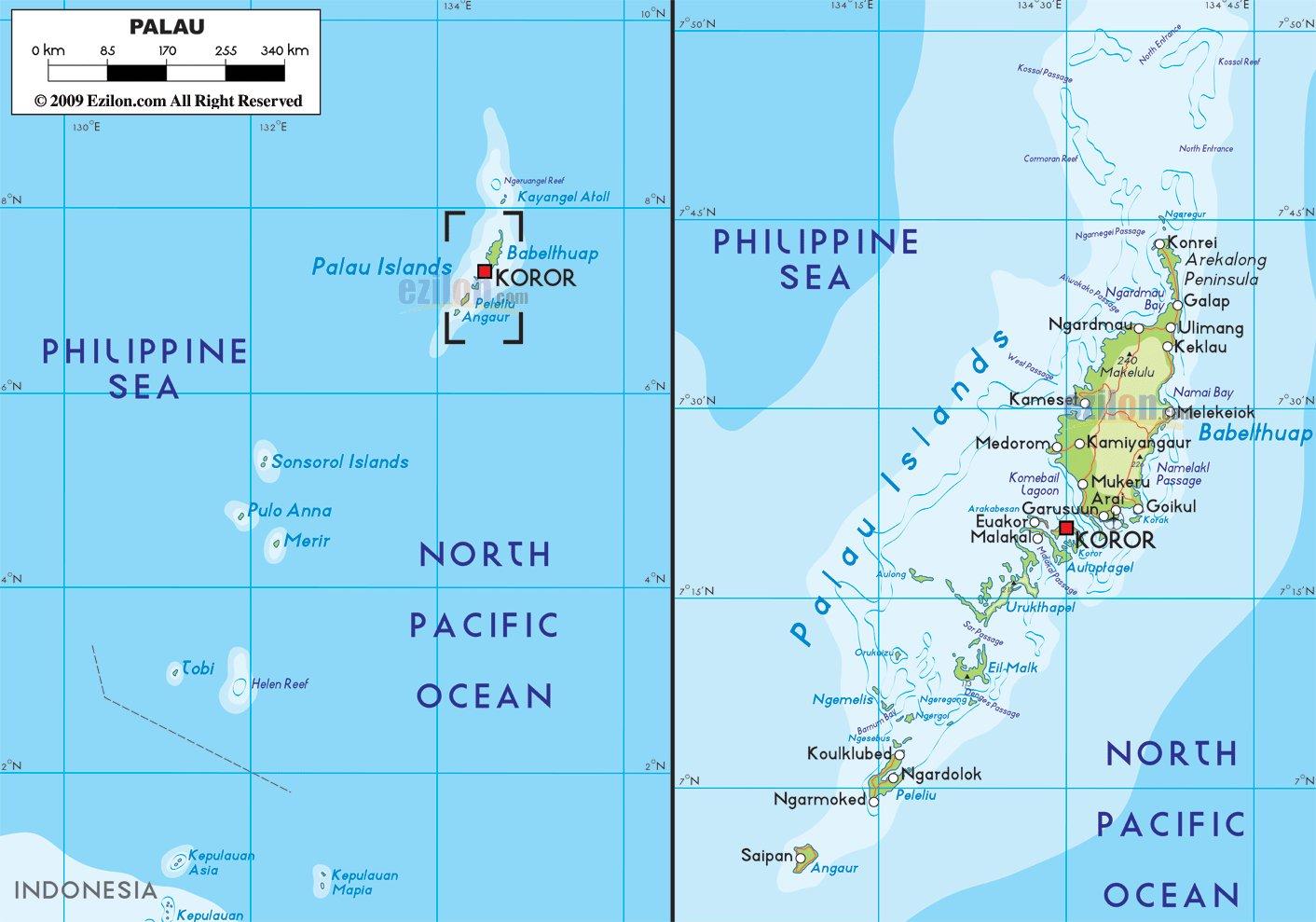 Карта Палау