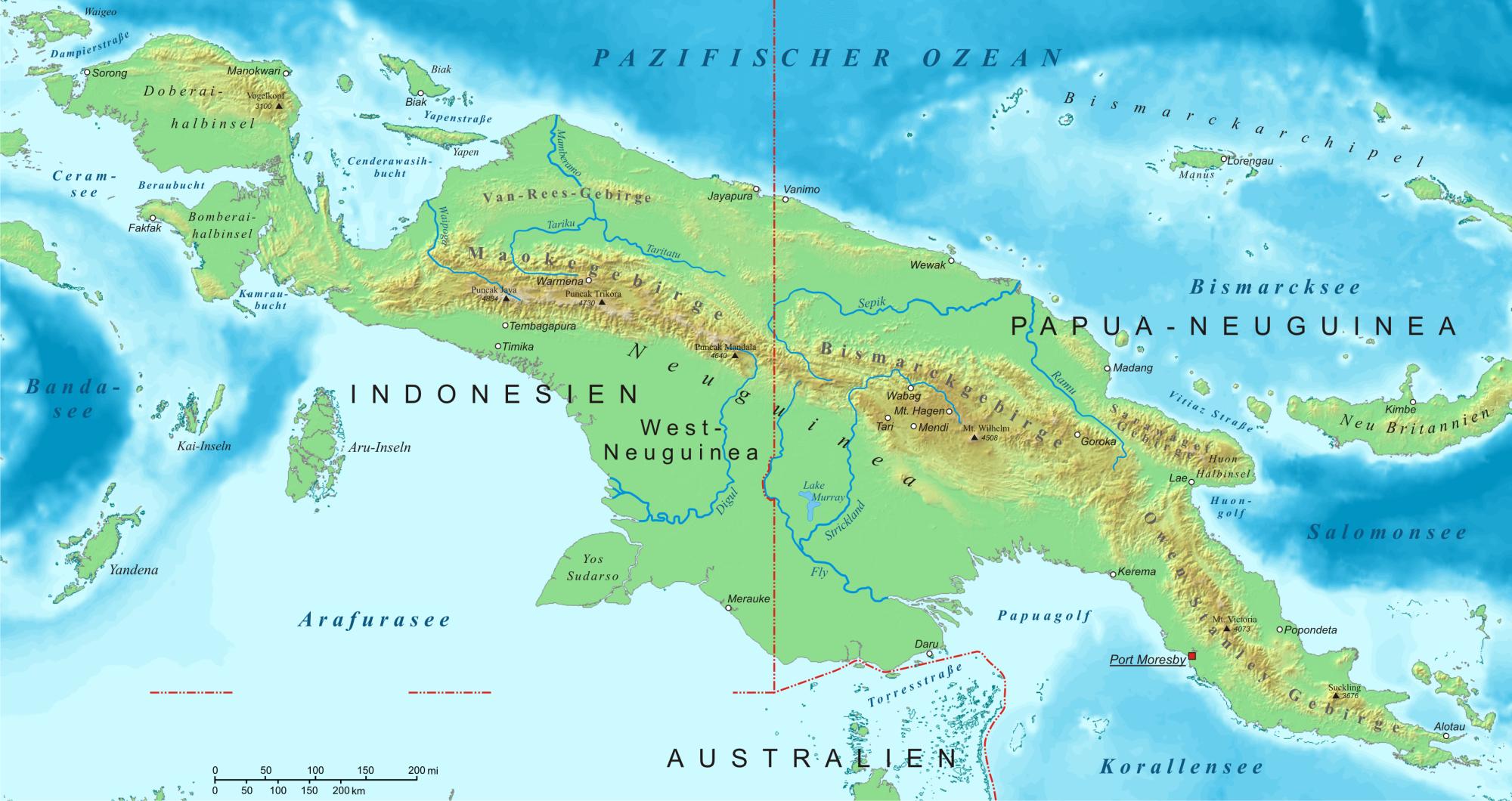 Карта Папуа — Новая Гвинея