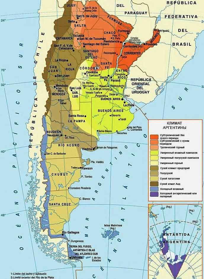 Климатическая карта Аргентины