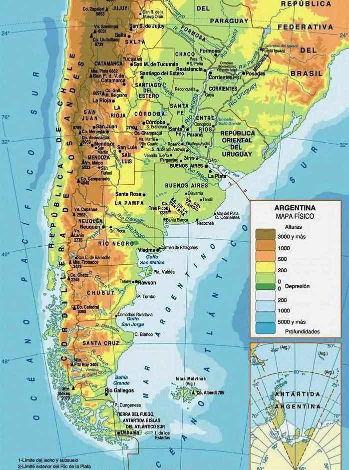 Физическая карта Аргентины