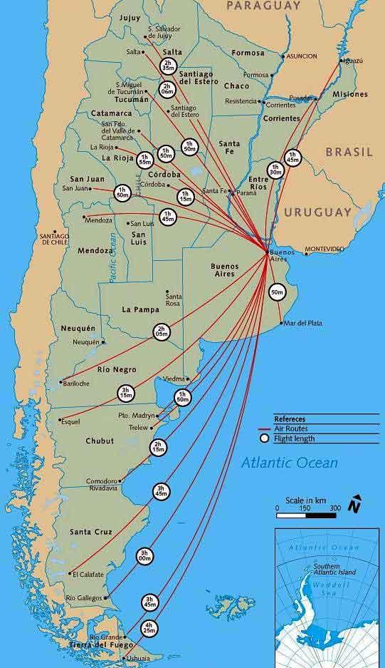 Карта авиалиний Аргентины
