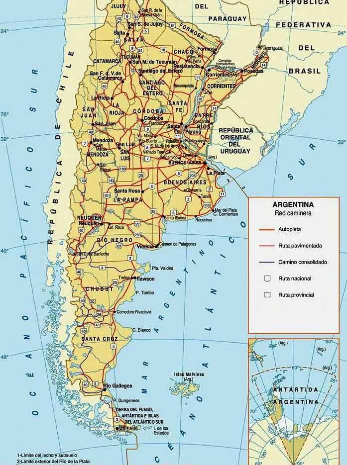 Карта дорог Аргентины